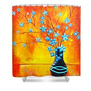 Cool Blue On Fire Shower Curtain