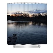 Cool Blue Ripples - Lake Shore Eventide Shower Curtain