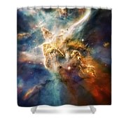 Cool Carina Nebula Pillar 4 Shower Curtain by Jennifer Rondinelli Reilly - Fine Art Photography