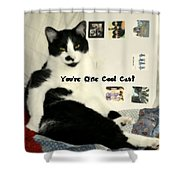 Cool Cat Greeting Card Shower Curtain