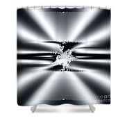 Cool Clean Stainless . Fractal Shower Curtain