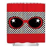 Cool Retro Red Sunglasses Shower Curtain
