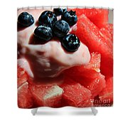 Cool Snack - Watermelon And Blueberries Shower Curtain