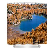 Cooney Lake Larches Shower Curtain