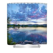 Coot Lake View Shower Curtain