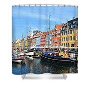 Copenhagen Denmark Nyhavn District Shower Curtain