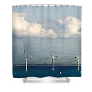 Copenhagen Wind Turbines Shower Curtain