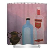Copper Jug With Glass Bottles Shower Curtain