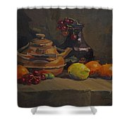 Copper Tea Pot And Fruit Shower Curtain
