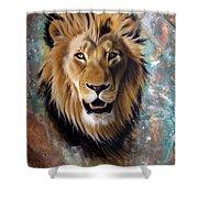 Copper Majesty - Lion Shower Curtain by Sandi Baker