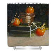 Copper Pot And Persimmons Shower Curtain
