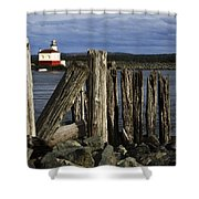 Coquille Lighthouse Oregon 3 Shower Curtain