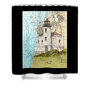 Coquille River Lighthouse Or Nautical Chart Map Art Cathy Peek Shower Curtain