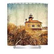 Coquille River Lighthouse - Texture Shower Curtain