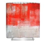 Tinted - Beige And Coral Abstract Art Painting Shower Curtain