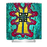 Coral Cross Shower Curtain