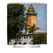 Coral Gables House And Water Tower Shower Curtain