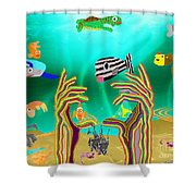 Coral Hands Shower Curtain