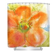 Coral Poppy II Shower Curtain