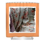 Coral Rose Quilt With Quote Shower Curtain