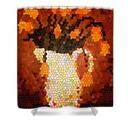 Coral Tulips In Stained Glass Shower Curtain