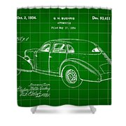 Cord Automobile Patent 1934 - Green Shower Curtain
