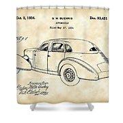 Cord Automobile Patent 1934 - Vintage Shower Curtain