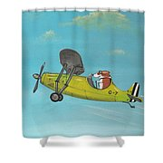 Corgi Aviator Shower Curtain