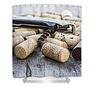 Corks With Corkscrew Shower Curtain
