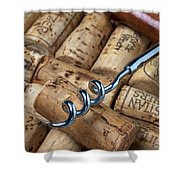 Corkscrew On Corks Shower Curtain by Garry Gay