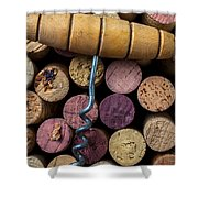 Corkscrew On Top Of Wine Corks Shower Curtain by Garry Gay