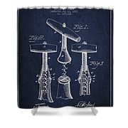 Corkscrew Patent Drawing From 1883 Shower Curtain by Aged Pixel