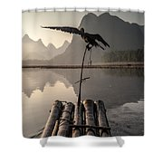 Cormorant Fishing On Li River Shower Curtain