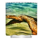 Cormorant On The Move Shower Curtain