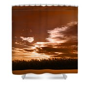 Corn Field Silhouettes Textured Shower Curtain