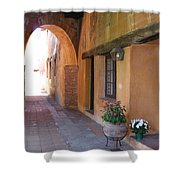 Corner Arch, Mission San Juan Capistrano, California Shower Curtain