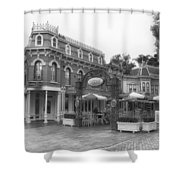 Corner Cafe Main Street Disneyland Bw Shower Curtain