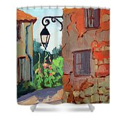 Street Corner In St. Colombe Shower Curtain