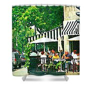 Corner Taverne Terrace French Paris Bistro Painting Sidewalk Cafe Wine Cheese Bar Montreal Cspandau  Shower Curtain