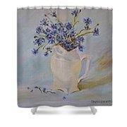 Cornflowers Oil Modern Paintings Shower Curtain