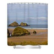 Cornish Seascape Holywell Bay Shower Curtain