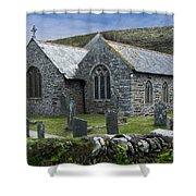 Cornish Seascape St Winwaloe Church Shower Curtain