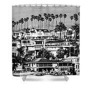 Corona Del Mar California Black And White Picture Shower Curtain