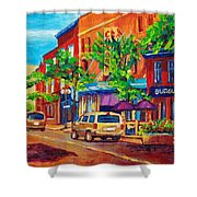 Corona Theatre Presents The Burgundy Lion Rue Notre Dame Montreal Street Scene By Carole Spandau Shower Curtain