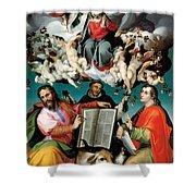 Coronation Of The Virgin With Saints Luke Dominic And John The Evangelist Shower Curtain