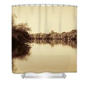 Corroboree Billabong In Sepia Shower Curtain