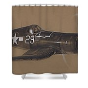 Corsair Triple Ace Shower Curtain by Wade Meyers