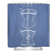 Corset Patent From 1873 - Light Blue Shower Curtain