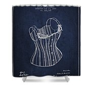 Corset Patent From 1882 - Navy Blue Shower Curtain