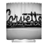 Corvette Sting Ray Emblem Shower Curtain by Paul Velgos